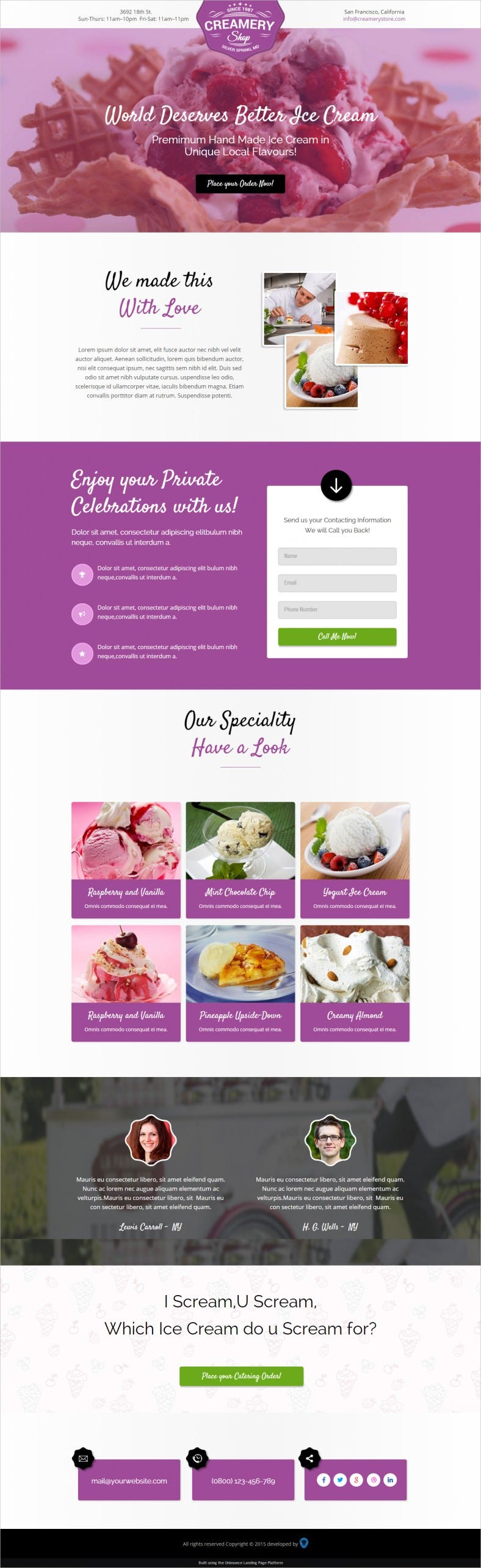 Creamery & Sweets Shops Landing Page Template