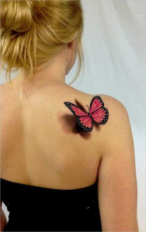 creative 3d butterfly tattoo design