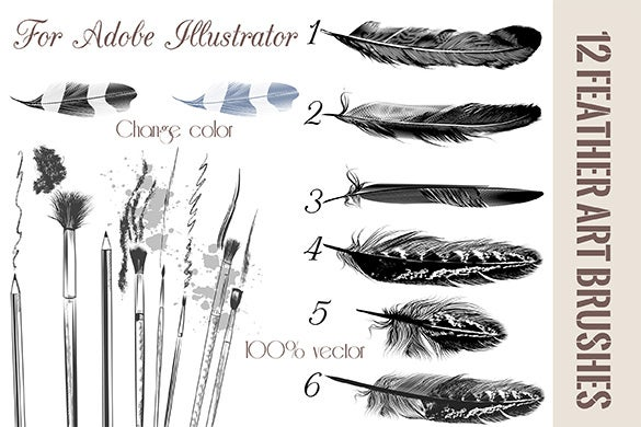 creative feather brushes illustrator