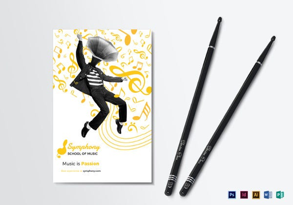 creative music bi fold brochure indesign template