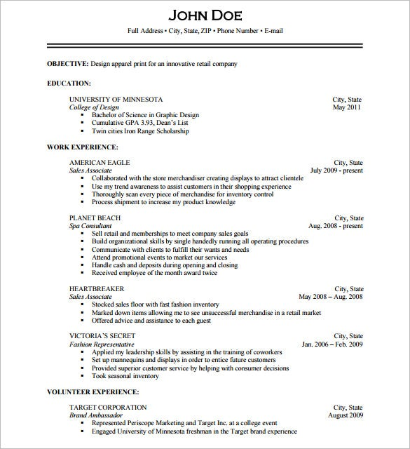 resume template photographer