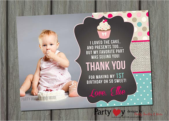 cupcake photo thank you card