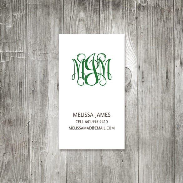 curly monogram calling card example