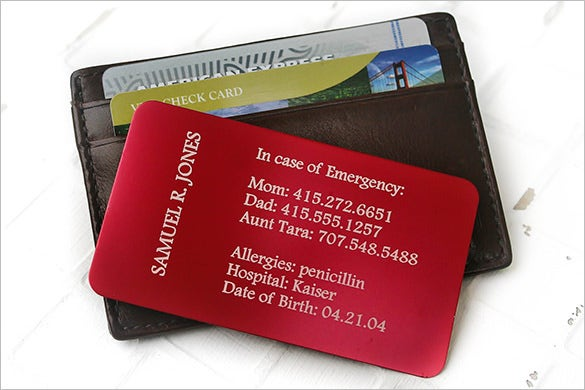 Custom Wallet Emergency Contact Card Template 25