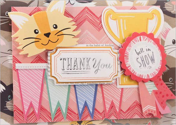 cute cat thank you card editabledesign