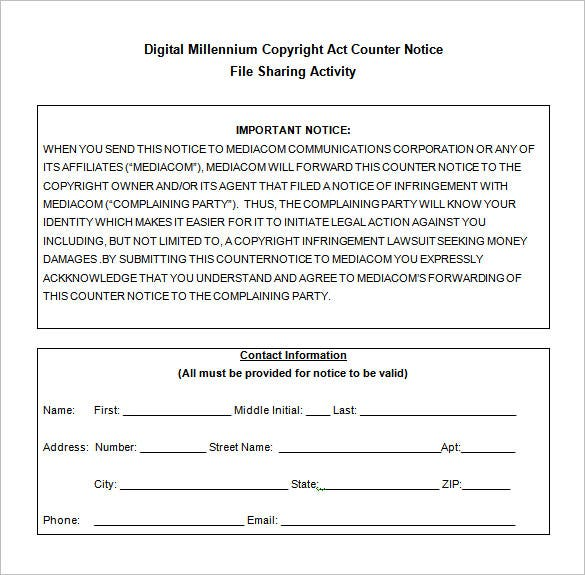 dmca counter notice form word download