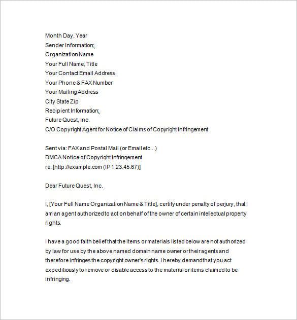 dmca notice complaint letter template1