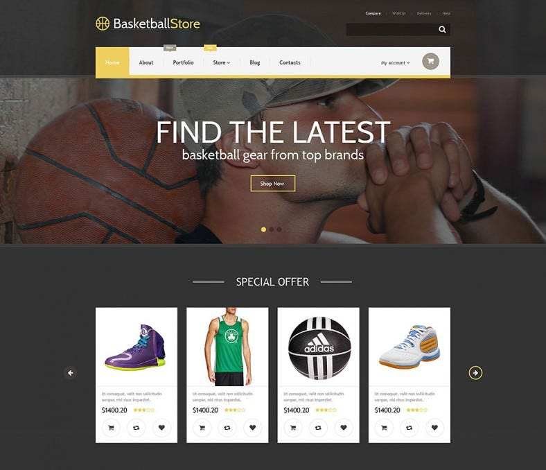 dark background woocommerce theme for basketball store 788x678