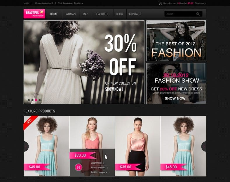 Dark Online Shopping Cart Website Template
