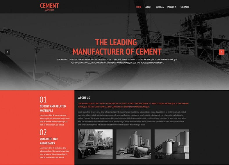 Dark Website Template for Cement Company