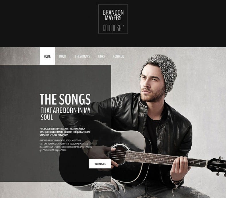 Dark Website Template for Composer's Portfolio