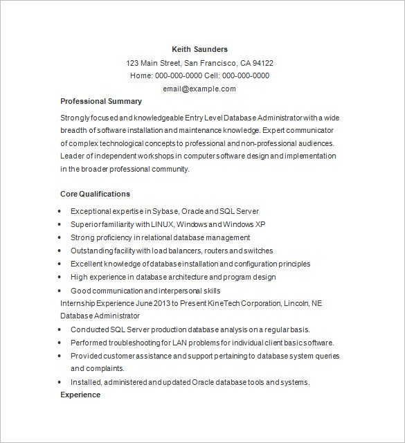 Ordinaire Database Administrator Resume Example