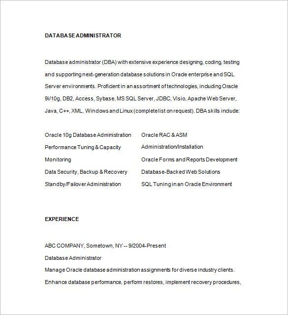 Database Administrator Resume Template   Free Samples Examples