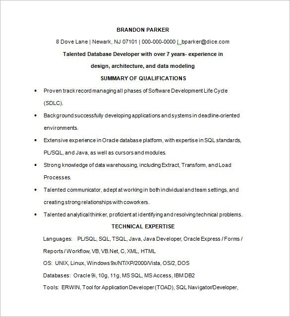 database programmer resume