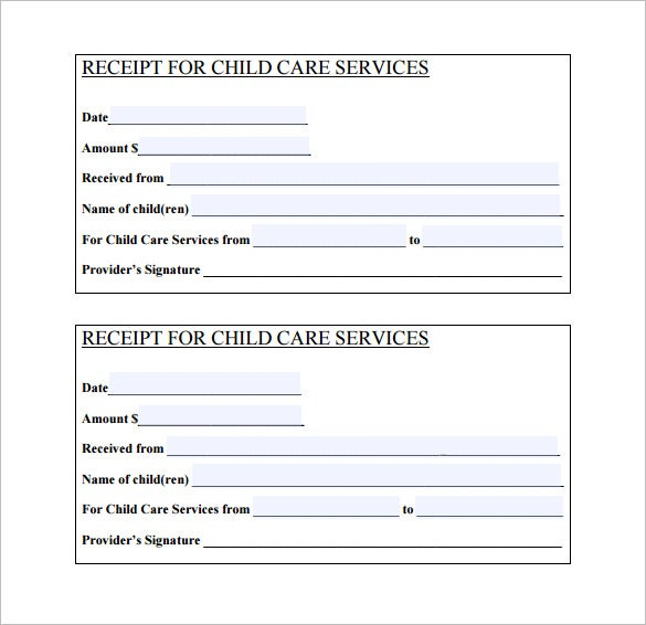 Day Care Services Receipt PDF Download  Examples Of Receipts For Payment