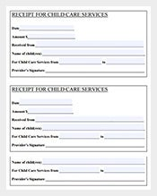 day care services sample receipt