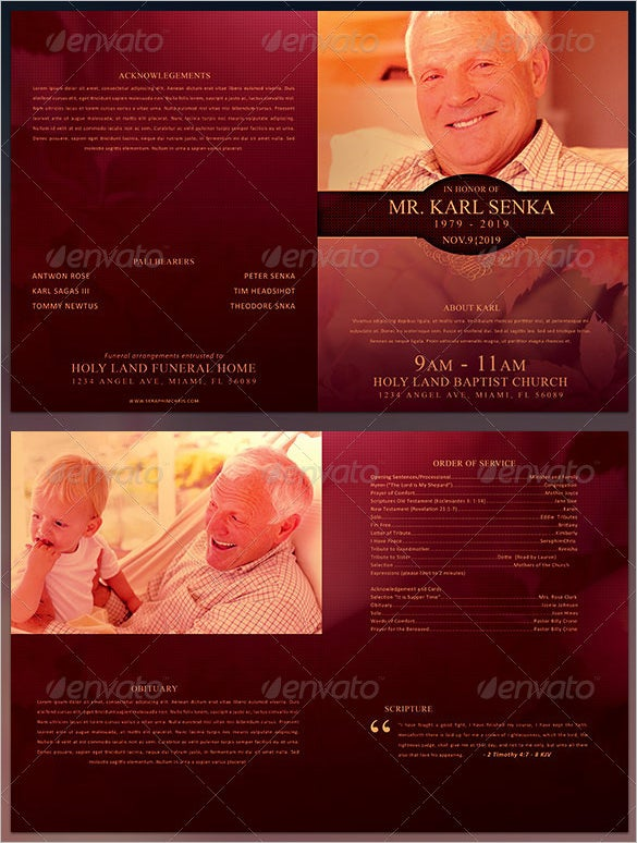 death funeral program bi fold template