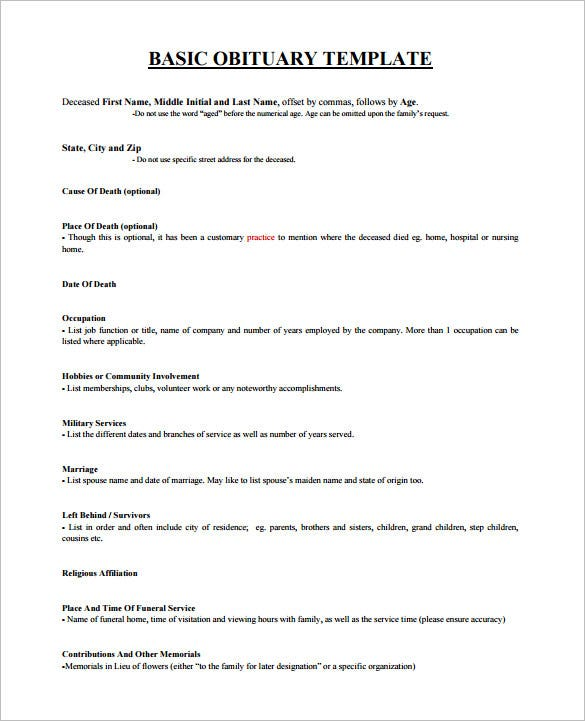 death obituary template � 13 free word excel pdf psd