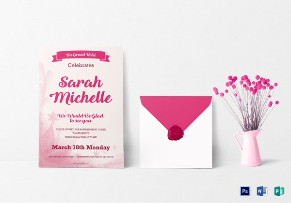 debut invitation card template