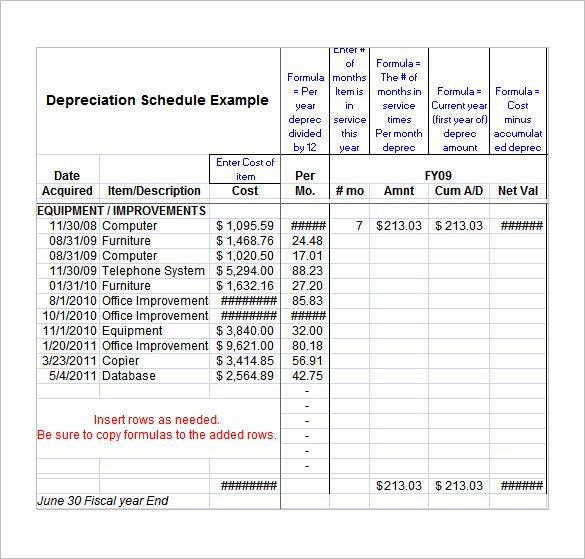 depreciation excel fixed asset depreciation excel spreadsheet