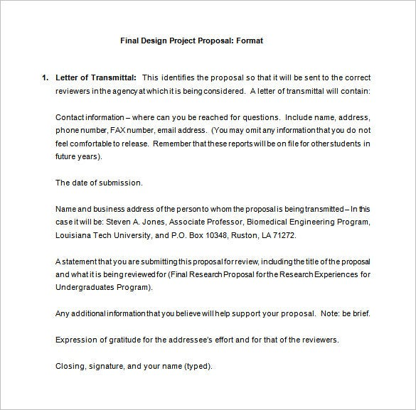 Design Proposal Template 13 Free Sample Example Format – Project Proposal Format Template