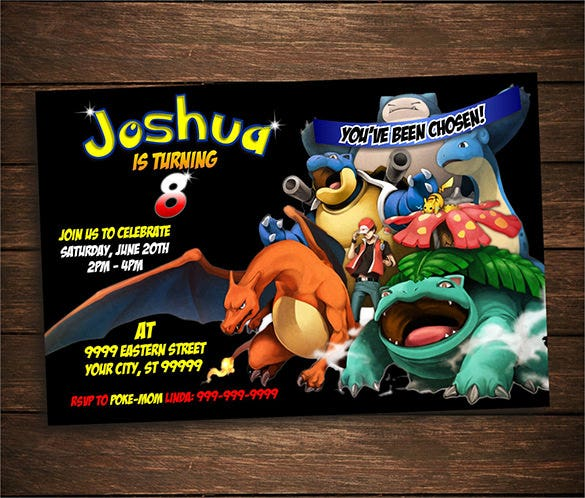 Digital Pokemon Birthday Party Invitation Card Template