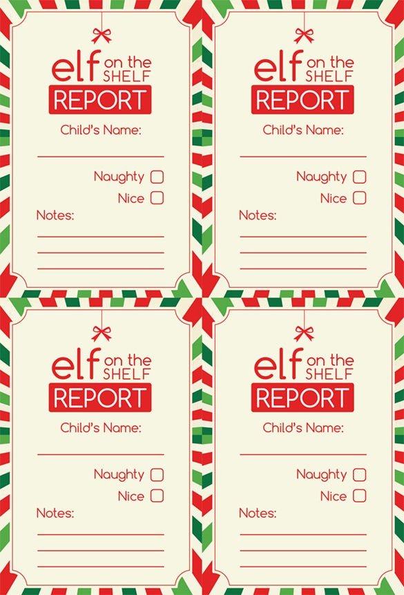 Digital Printable Elf Report Card Template Download