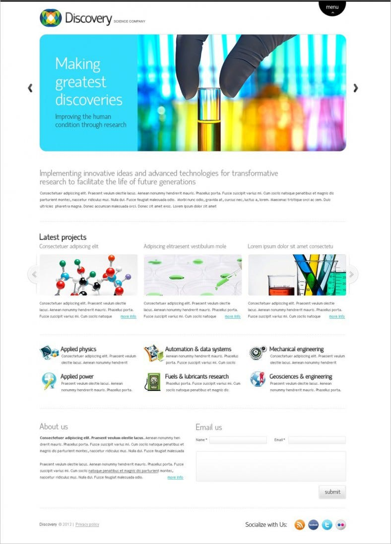 Discovery Science Company Website Template
