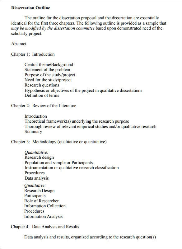 Qualitative dissertation proposal outline