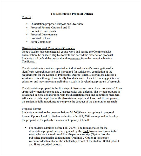 dissertation proposal defense format download