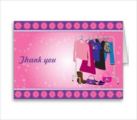 diva fashion thank you card