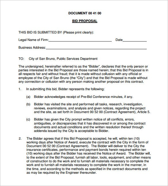 document of bid proposal pdf