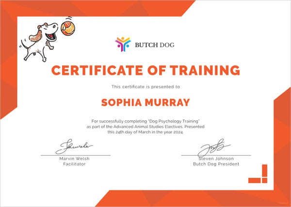 dog training certificate template1
