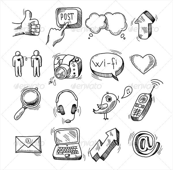 doodle-social-icons-set