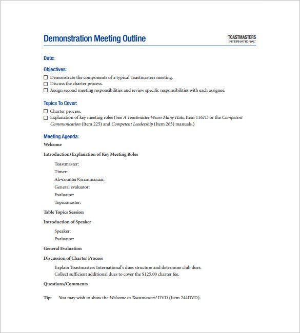 download demonstration meeting outline template pdf format