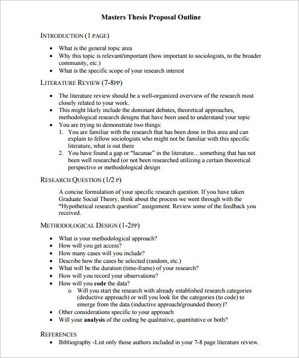Proposal Outline Template   Free Free Word Pdf Format Download