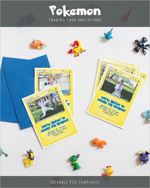 download pokemon trading card invitation template