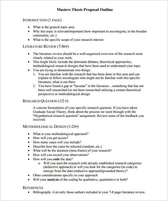 Proposal Outline Templates   Free Sample Example Format