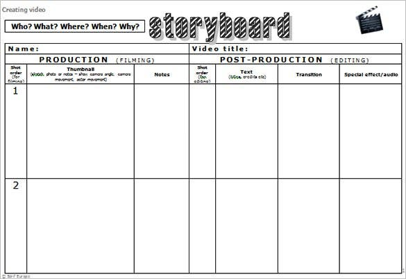 Audio  Video Storyboard Template   Free Sample Example Format