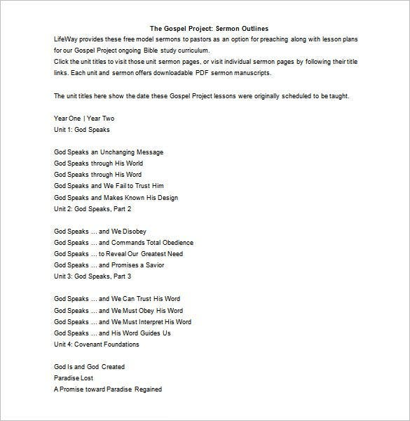 download sermon outline template gospel word doc