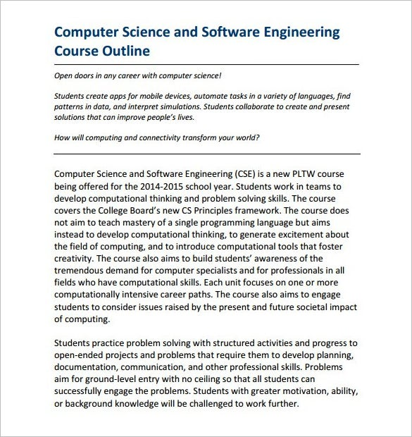 download software engineering course outline template free pdf