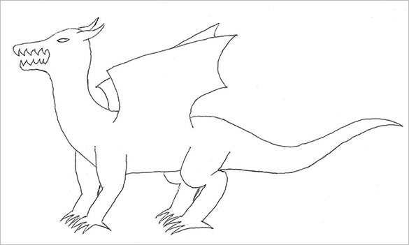 Dragon Body Outline Template For Kids
