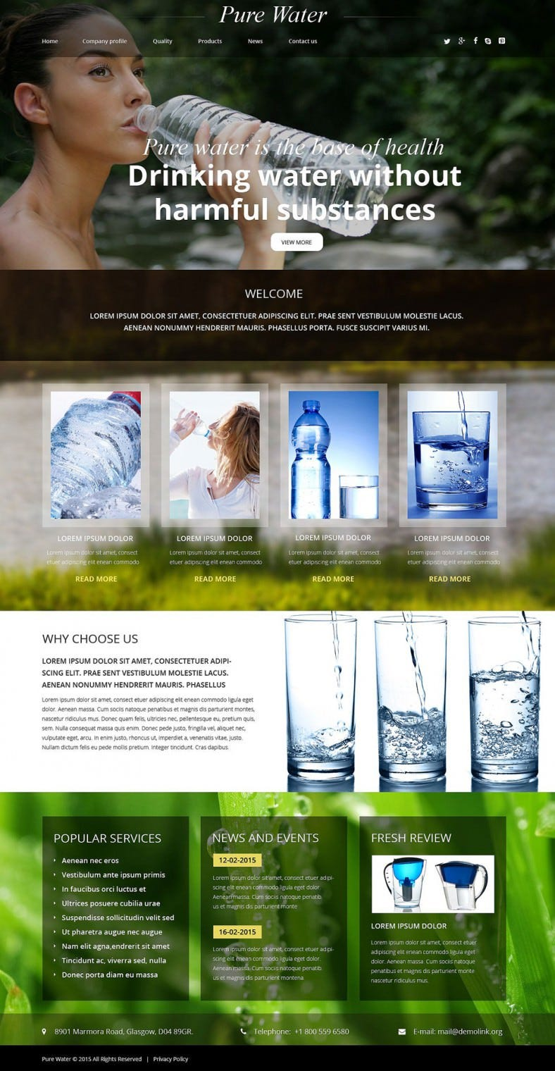 drinking water company website template 788x1520