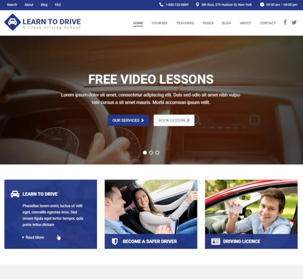 driving school psd wordpress theme