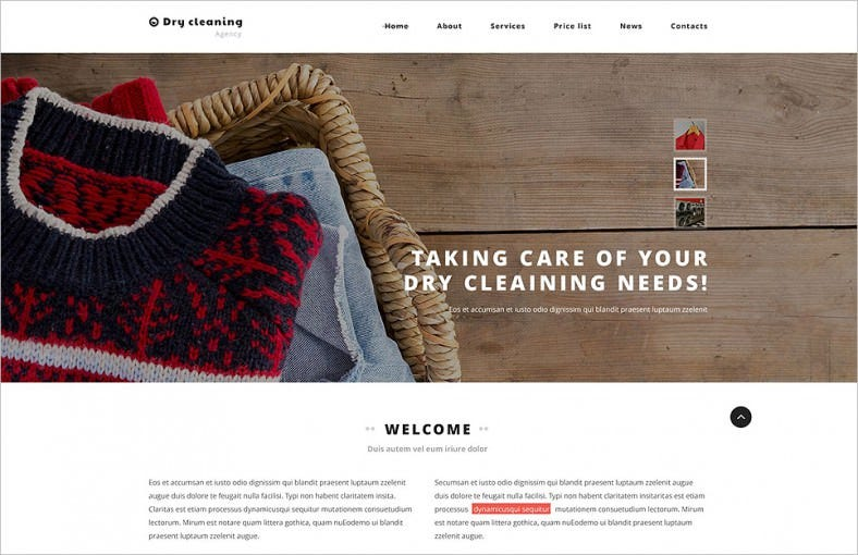 dry cleaning website template 788x510