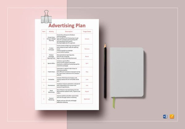 easy to print advertising plan template