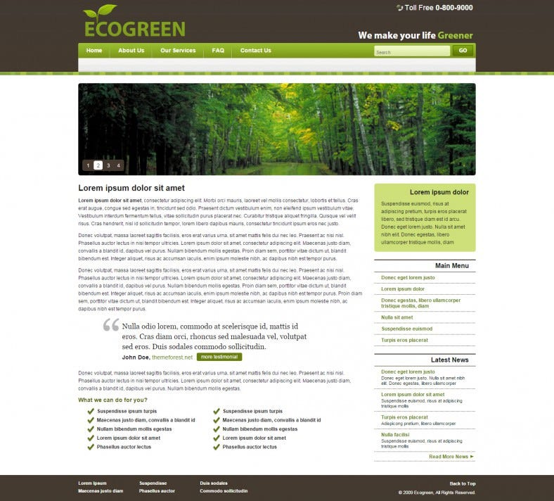EcoGreen Website Template for Business