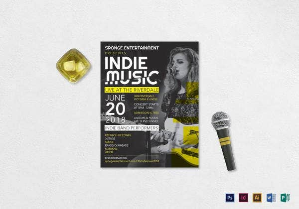 editable indie band music flyer template