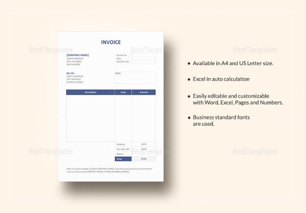 editable invoice template in word