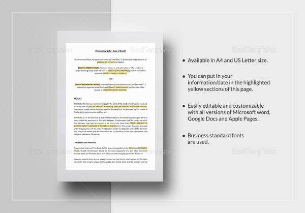 blank promissory note templates � 13 free word excel